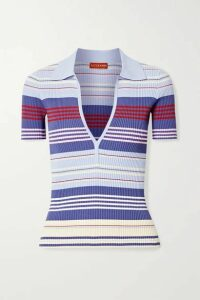 Altuzarra - Hatch Striped Ribbed-knit Top - Light blue