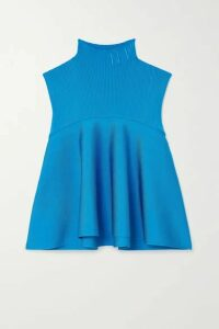 Nina Ricci - Embroidered Stretch-knit Turtleneck Top - Blue