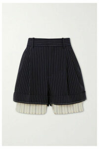 Chloé - Layered Pinstriped Grain De Poudre Wool And Silk Shorts - Navy