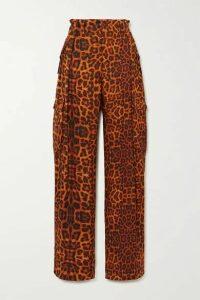Dries Van Noten - Polka Leopard-print Silk-satin Cargo Pants - Orange