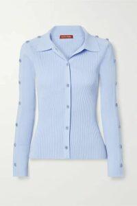 Altuzarra - Jeffrey Button-embellished Ribbed-knit Top - Light blue