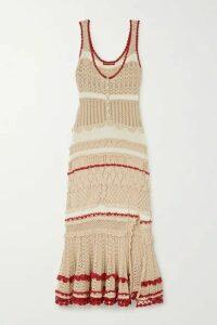 Altuzarra - Herrick Striped Pointelle-knit Stretch-cotton Midi Dress - Beige