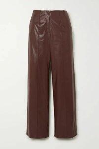 Aleksandre Akhalkatsishvili - Belted Faux Leather Straight-leg Pants - Brown