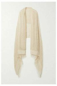 Miguelina - Sekai Fringed Crocheted Cotton Shawl - Beige