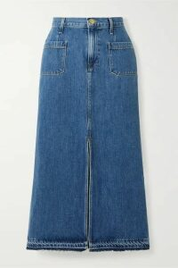 FRAME - Le Bardot Frayed Denim Midi Skirt - Mid denim