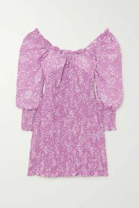 Faithfull The Brand - Gombardy Shirred Floral-print Crepe Mini Dress - Lavender