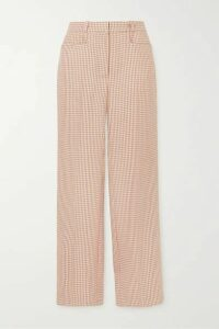 ALEXACHUNG - Cropped Houndstooth Woven Straight-leg Pants - Pink