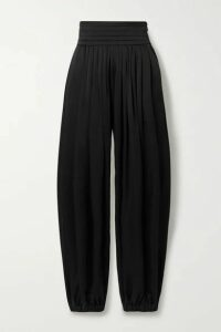 Khaite - Rosie Pleated Satin-crepe Pants - Black