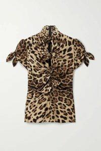 Dolce & Gabbana - Knotted Cutout Leopard-print Stretch-silk Crepe De Chine Blouse - Leopard print