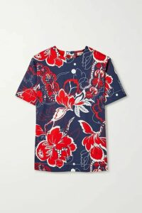 By Malene Birger - Acome Floral-print Cotton-blend Twill Top - Navy