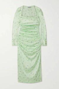 GANNI - Ruched Floral-print Stretch-silk Satin Midi Dress - Light green