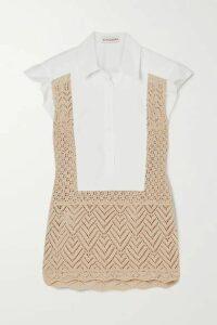 Altuzarra - Batten Paneled Crocheted Cotton And Poplin Blouse - White