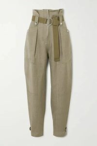 IRO - Mohon Belted Cotton-canvas Tapered Pants - Army green