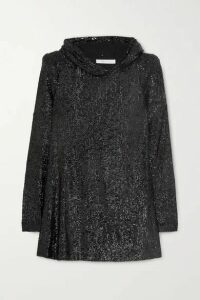 Naeem Khan - Hooded Sequined Tulle Tunic - Black