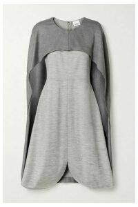 Burberry - Layered Mélange Wool-blend Jersey Midi Dress - Gray