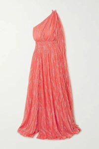 Redemption - One-shoulder Glittered Chiffon Gown - Coral