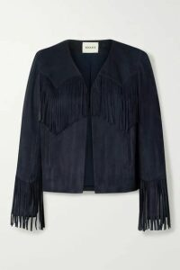 Khaite - Gracie Cropped Fringed Suede Jacket - Navy