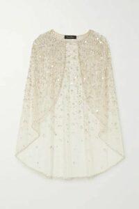 Jenny Packham - Florentine Embellished Glittered Tulle Cape - Gold
