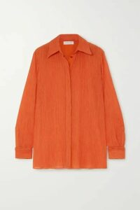 Gabriela Hearst - Cruz Plissé Cotton And Silk-blend Shirt - Bright orange
