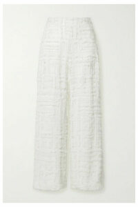 SemSem - Frayed Sequin-embellished Silk-chiffon Wide-leg Pants - White