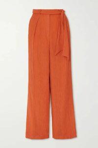 Gabriela Hearst - Thomazia Plissé Cotton And Silk-blend Wide-leg Pants - Orange