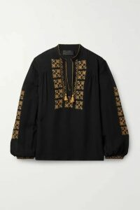 Nili Lotan - Karina Tie-detailed Embroidered Silk-chiffon Top - Black