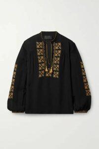Nili Lotan - Karina Tie-detailed Embroidered Silk-chiffon Top - Black