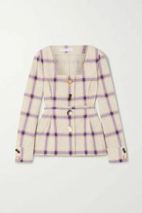 REJINA PYO - Martina Belted Checked Linen Jacket - Purple