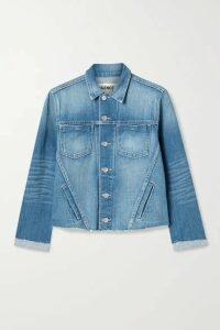 L'Agence - Janelle Cropped Frayed Stretch-denim Jacket - Mid denim