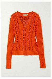 COURREGES - Cable-knit Cotton Sweater - Orange