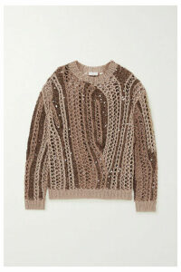 Brunello Cucinelli - Opera Sequin-embellished Open-knit Cotton-blend Sweater - Camel