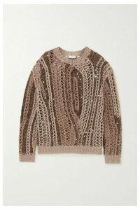 Brunello Cucinelli - Opera Sequin-embellished Open-knit Cotton-blend Sweater - Camel