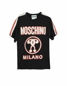 Moschino Designer T-Shirts & Tops, Black Signature Print Cotton Oversized Women's T-Shirt