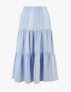M&S Collection Cotton Striped Tiered Midi Skirt