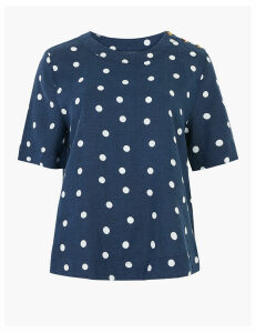 M&S Collection Pure Linen Polka Dot Short Sleeve Top
