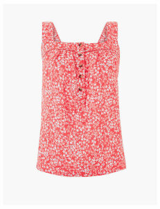 M&S Collection Pure Linen Ditsy Floral Camisole Top