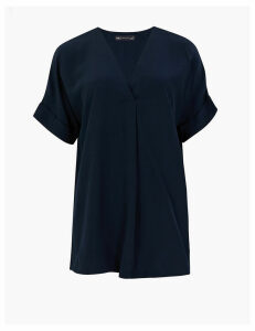 M&S Collection V-Neck Longline Short Sleeve Popover Blouse