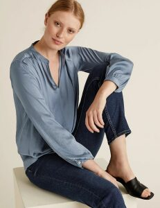 M&S Collection Satin V-Neck Long Sleeve Popover Blouse