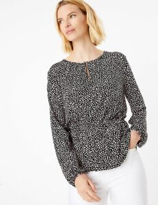 M&S Collection Animal Print Waisted Long Sleeve Blouse