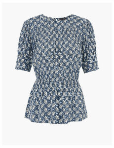 M&S Collection Floral Waisted Short Sleeve Top