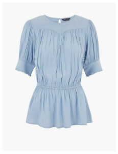 M&S Collection Waisted Short Sleeve Blouse