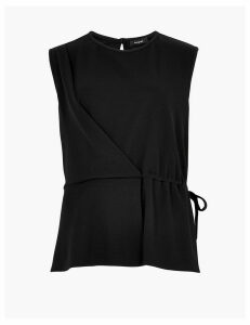 Autograph Sleeveless Tie Wrap Blouse