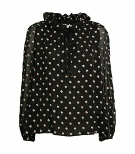 Claudie Pierlot Floral Tie-Neck Blouse