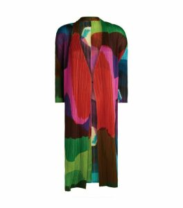 Pleats Please Issey Miyake Multi-Print Long Cardigan