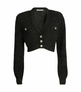 Alessandra Rich Crystal-Button Cropped Cardigan