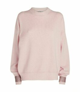 Alexander Wang Crystal-Embellished Cuffs Sweater