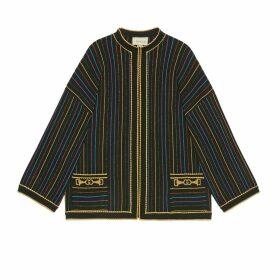 Lamé striped wool jacket