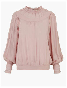 Per Una Lace Insert High Neck Long Sleeve Blouse