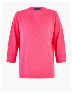 M&S Collection Pure Cotton V-Neck Popover Top