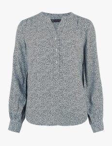 M&S Collection Animal Print Long Sleeve Popover Blouse